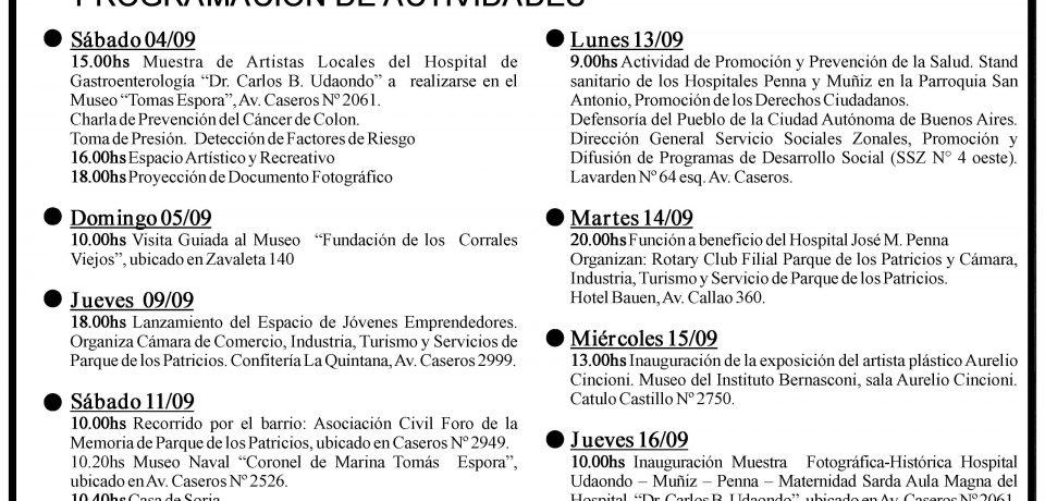 PROGRAMA DEL 108 ANIVERSARIO DE PARQUE PATRICIOS