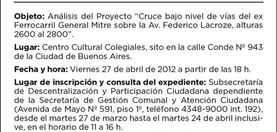 AUDIENCIA PÚBLICA CRUCE BAJO NIVEL DE VÍAS DEL EX FERROCARRIL MITRE