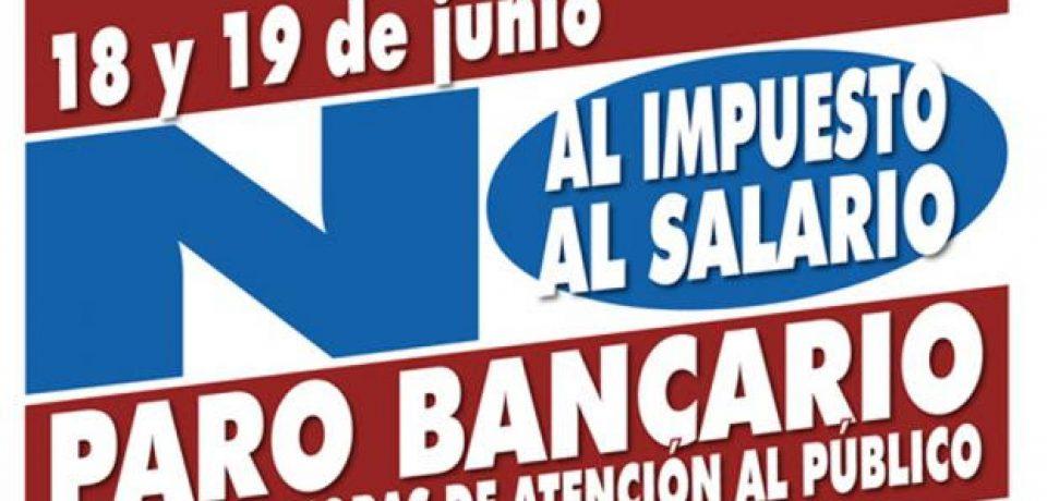 BANCOS: PARO NACIONAL EL 18 Y 19