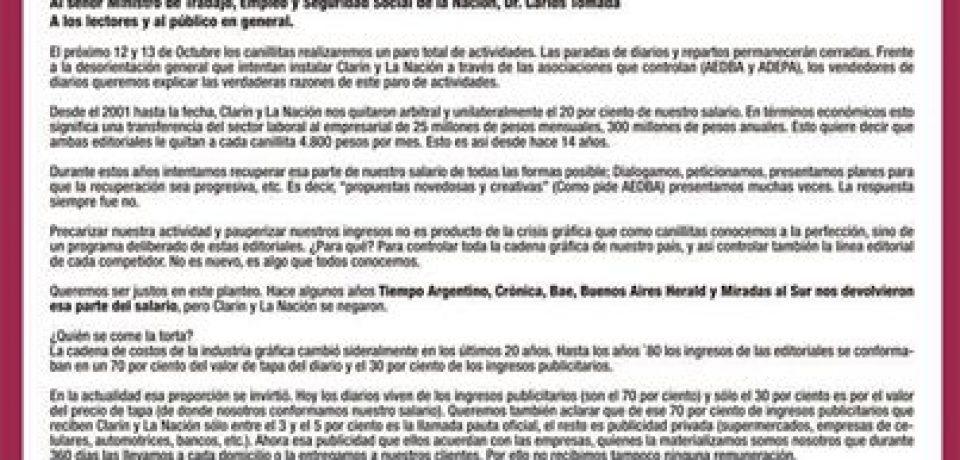 HOY Y MAÑANA PARAN LOS CANILLITAS